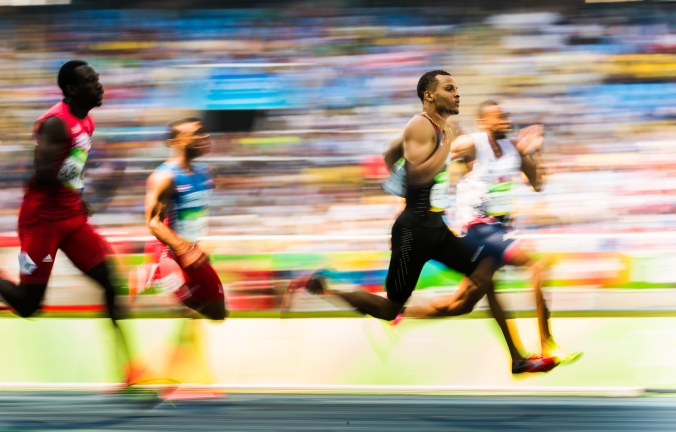 Canada's Andre De Grasse races in his 200m heat at the Olympic games in Rio de Janeiro, Brazil, Tuesday August 16, 2016. COC Photo/Mark Blinch
