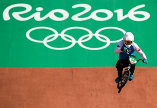 Canada's Tory Nyhaug competes in the BMX seeding at the Olympic games in Rio de Janeiro, Brazil, Wednesday August 17, 2016. COC Photo/Mark Blinch